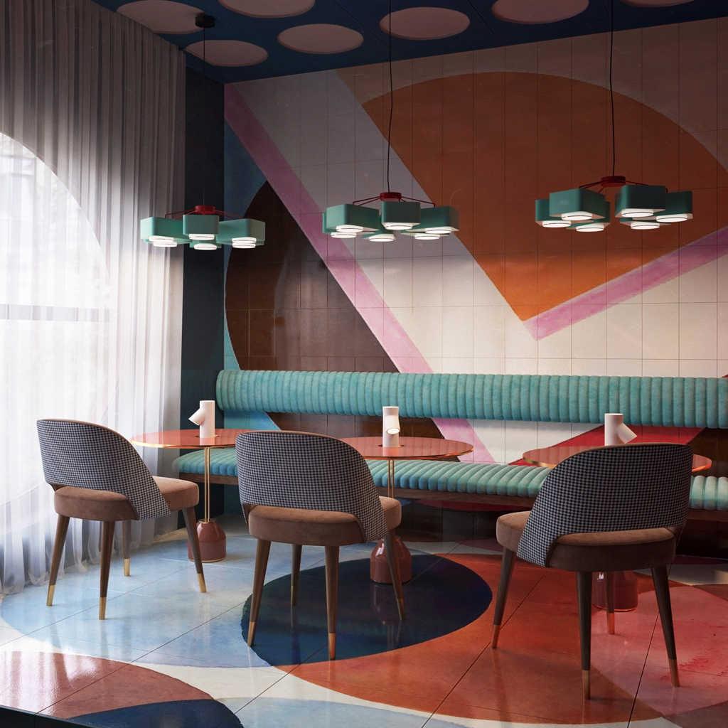 Renkli Cafe Tasarımı