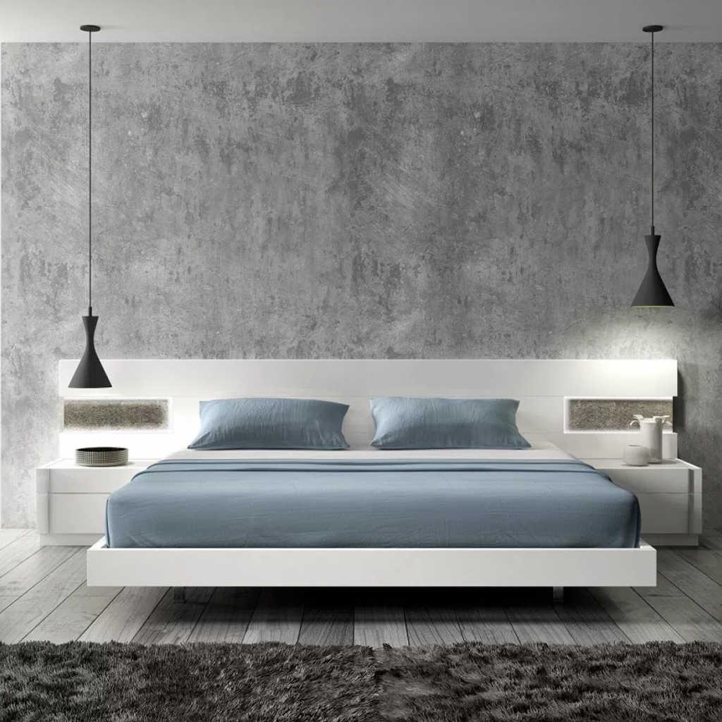 Beton Duvarlı Modern Yatak Odası Tasarımı