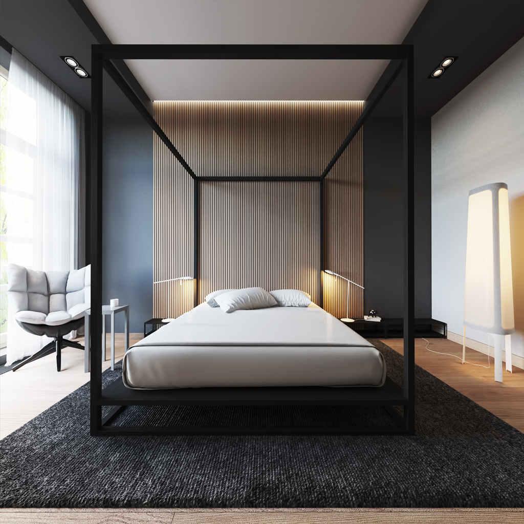 Minimal Çizgilerle Modern Yatak Odası Tasarımı