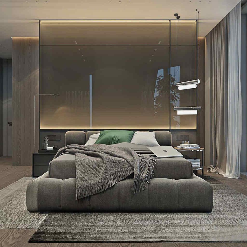Modern Gri Yatak Odası Tasarımı